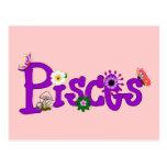 Pisces Flowers Postcard
