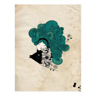 Pisces Girl Zodiac Sign Postcard