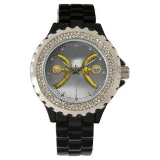 PISCES GOLD ZODIAC BIRTHDAY JEWEL, White  Pearl Wrist Watch