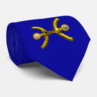 PISCES Gold Zodiac Birthday Sign, Pearls,Blue Neck Tie