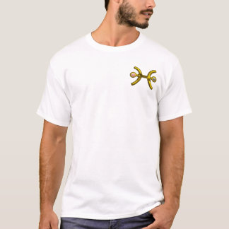 PISCES Gold Zodiac Birthday Sign,White Pink Pearls T-Shirt