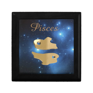 Pisces golden sign keepsake box