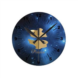 Pisces golden sign round clock