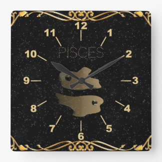 Pisces golden sign square wall clock