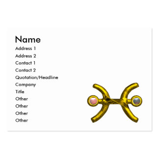 PISCES GOLDEN ZODIAC JEWEL WITH PEARLS LARGE BUSINESS CARD