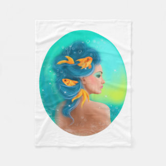 Pisces Horoscope Zodiac - Fantasy beautiful woman Fleece Blanket