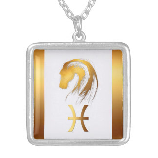 Pisces Horse Chinese and Western Astrology Square Pendant Necklace