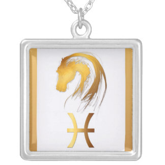 Pisces Horse Chinese Western Astrology Square Pendant Necklace