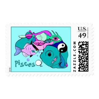 Pisces in Pop Art Symbols Yin Yang ~ POSTAGE STAMP