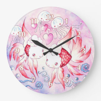 Pisces Koi love fish Large Clock
