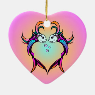 Pisces Love Fish Double-Sided Heart Ceramic Christmas Ornament