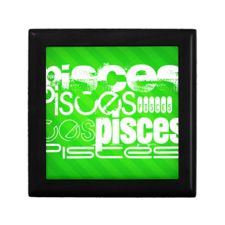 Pisces; Neon Green Stripes Jewelry Boxes