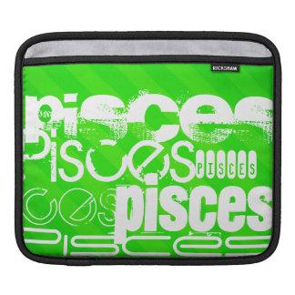 Pisces; Neon Green Stripes iPad Sleeve