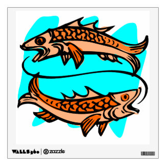 Pisces Old Woodcut Wall Sticker