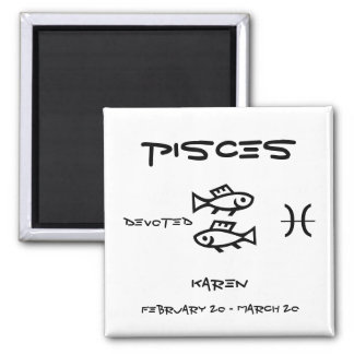 Pisces Personalize 2 Inch Square Magnet