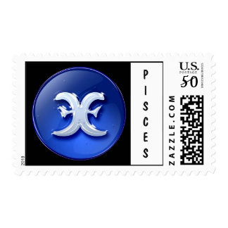 Pisces Postage | Blue Button - Customized