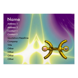 PISCES, purple blue pink pearl paper Large Business Card