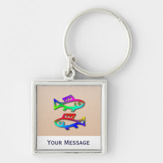 Pisces Rainbow Fish Luggage Tag Baggage Tag Silver-Colored Square Keychain
