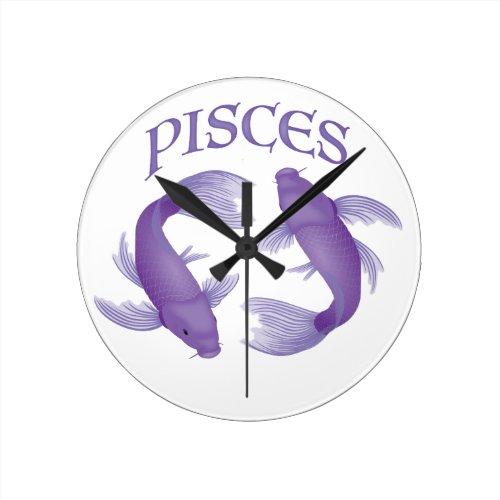 Pisces Round Clock