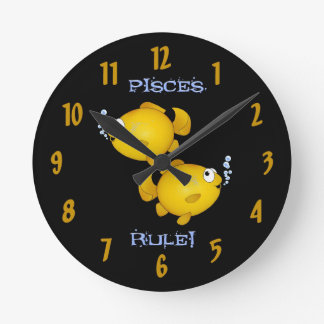 Pisces rule! Two cartoon fish clock. Round Clock