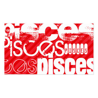 Pisces; Scarlet Red Stripes Business Card