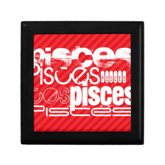 Pisces; Scarlet Red Stripes Jewelry Boxes
