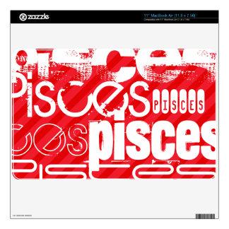 Pisces; Scarlet Red Stripes MacBook Air Decals