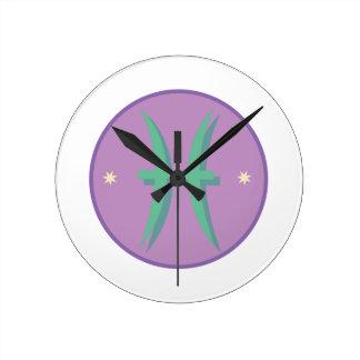 Pisces Sign Round Clock