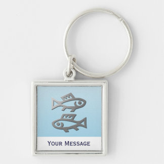 Pisces Silver Fish Hand Baggage Tag Keyring Keychain