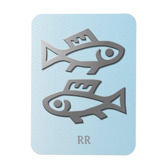 Pisces Silver Fish Zodiac Star Sign Flexi Magnet