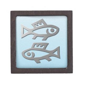 Pisces Silver Fish Zodiac Star Sign Premium Trinket Box