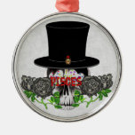 Pisces Skull Round Metal Christmas Ornament