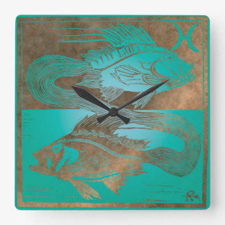 Pisces Square Wall Clock