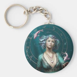 Pisces square zodiac sign basic round button keychain