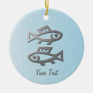 Pisces Star Sign Silver Fish Birthday or Ceramic Ornament
