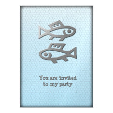 Pisces Star Sign Silver Fish On Blue Party Event Card at Zazzle