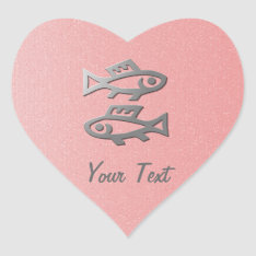 Pisces Star Sign Silver Fish On Pink Heart Sticker at Zazzle
