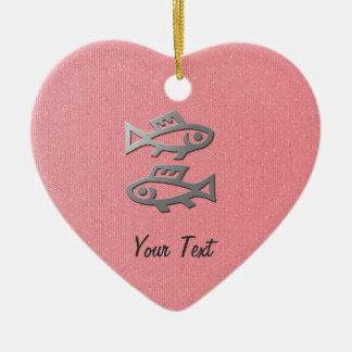Pisces Star Sign Silver Fish Romantic Pink Heart Double-Sided Heart Ceramic Christmas Ornament