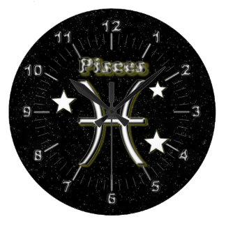 Pisces symbol large clock
