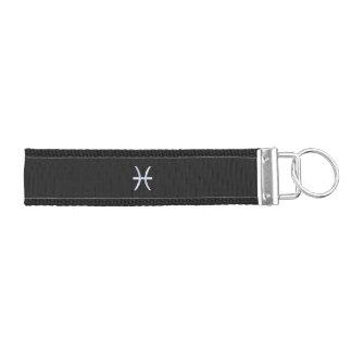 Pisces Symbol on Black Snake Skin style Wrist Keychain
