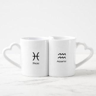 Pisces the fish & Aquarius Zodiac Astrology Coffee Mug Set