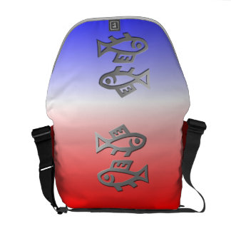 Pisces The Fish Silver Star Sign On Messenger Commuter Bags