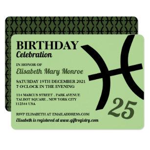 Pisces, The Fish, Zodiac Star Sign, Birthday Invitation