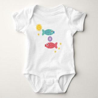 Pisces two fish baby bodysuit zodiac star sign