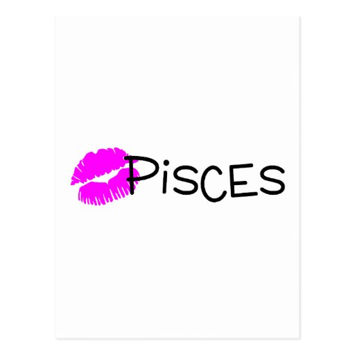 Pisces with Pink Kiss Postcard