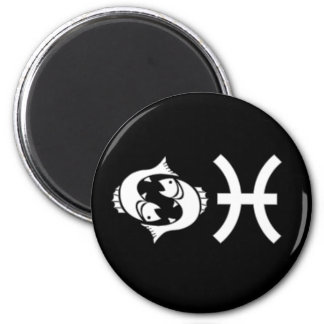 Pisces with Symbol 2 Inch Round Magnet