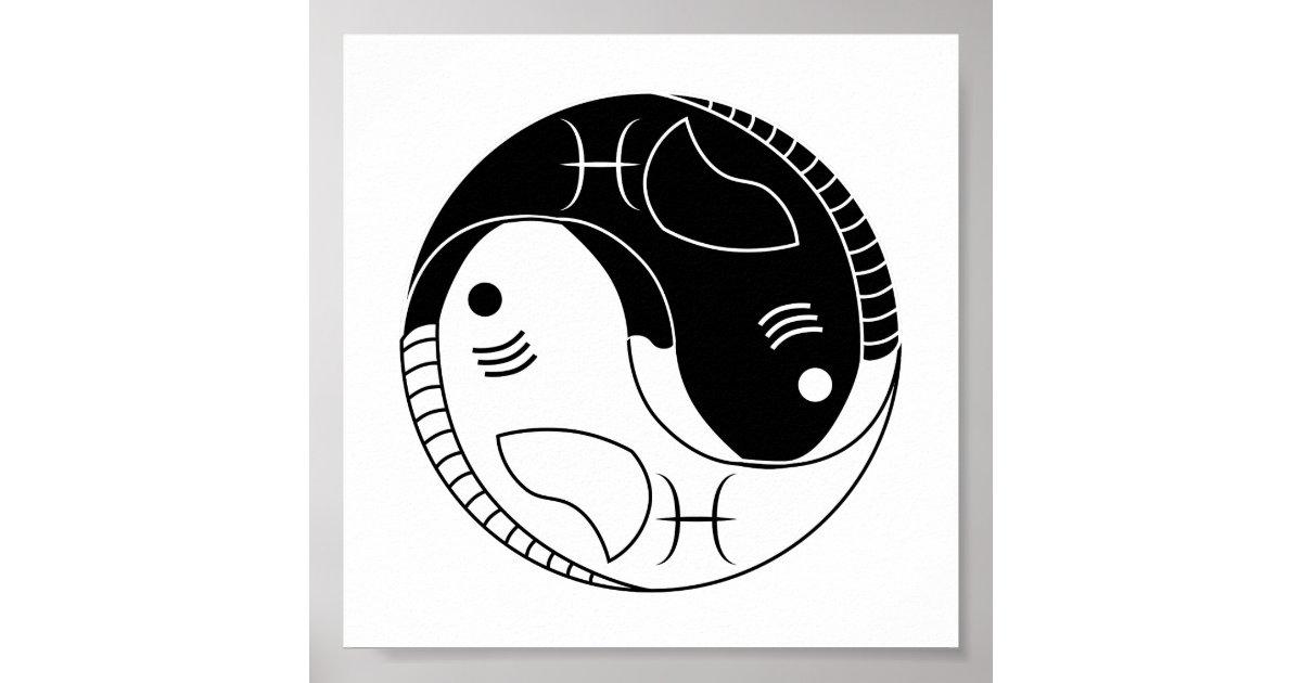 Pisces yin yang fish astrology zodiac symbol poster zazzle sciox Gallery