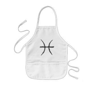 Pisces. Zodiac Astrology Sign. Black. Apron