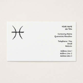 Pisces. Zodiac Astrology Sign. Black. Business Card