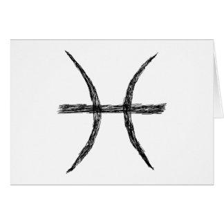 Pisces. Zodiac Astrology Sign. Black. Card